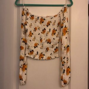 White and yellow Hollister stretchy crop top!